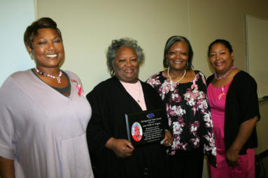 Presented to Willie M. Wiggins for 32 years of unwavering contributions to the chapter.  Pictured l-r: Donna Crudup, Willie Wiggins, Linda Sifontes (President), Natalie Standifer (Vice President).