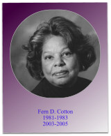 During Soror Cotton's first service as president, she oversaw the chapter's 30th anniversary and the 1983 May Week Program at which Soror Shirley Chisolm was our guest.  During Soror Cotton's next term as president, 8 new members were initiated, and the 2
