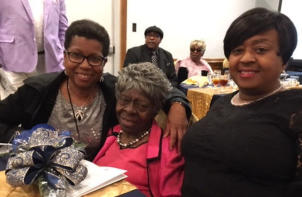 Mae Belle Vaughn (center) recognized. (l-r) Marsha Eastland and Tiffany Dove.