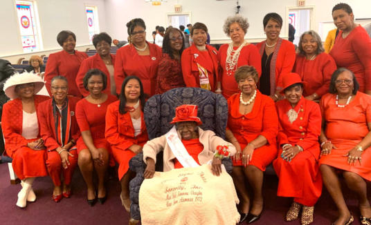 Chapter members celebrate with Mae Belle Vaughn, February 2020